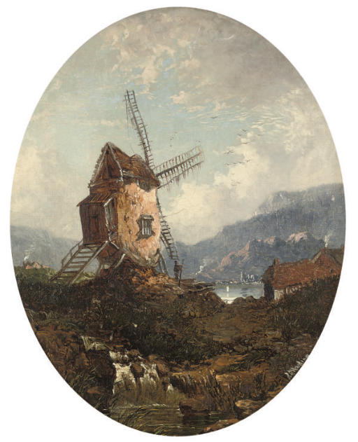 A windmill beside a lake, in a painted oval