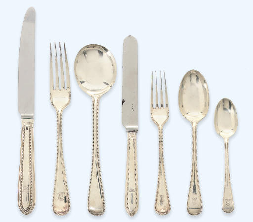 A VICTORIAN SILVER BEAD-EDGED FLATWARE SERVICE