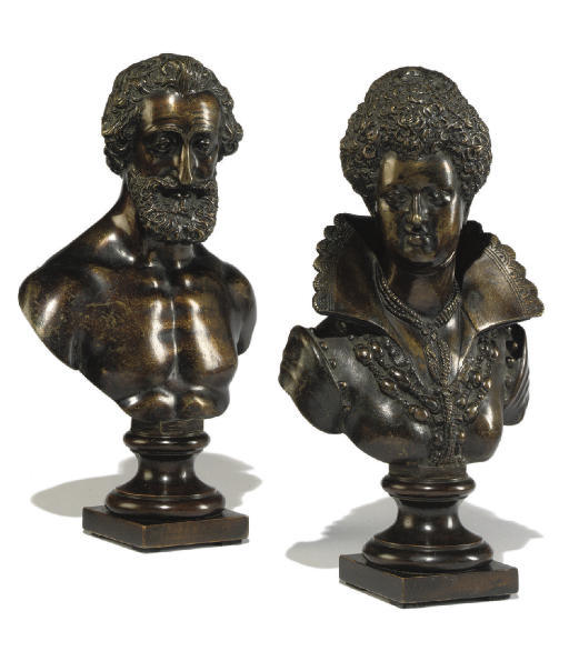 A PAIR OF FRENCH BRONZE BUSTS OF HENRI IV AND MARIE DE MEDICI