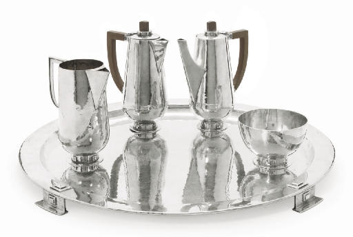 AN ARTS & CRAFTS SILVER COFFEE SERVICE