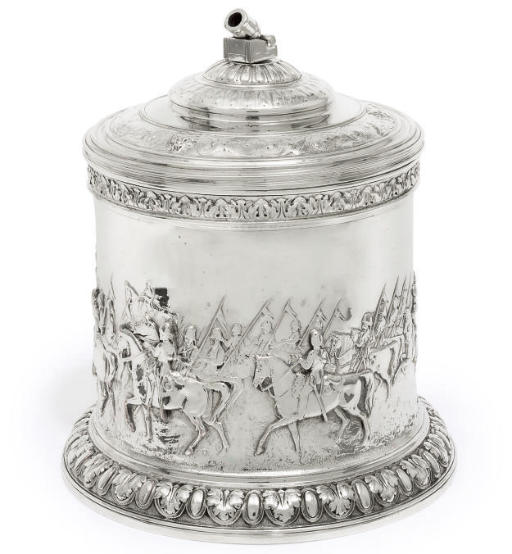 MILITARY INTEREST:- A VICTORIAN ELECTROPLATED BISCUIT BOX,