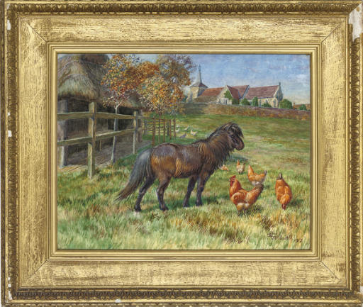 A pony and chickens in a paddock with a church beyond