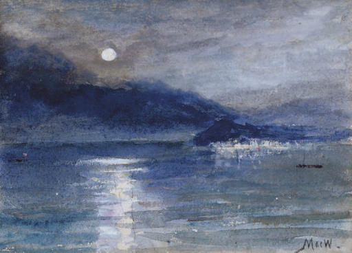 Moonlight over Lake Como, Bellagio in the distance