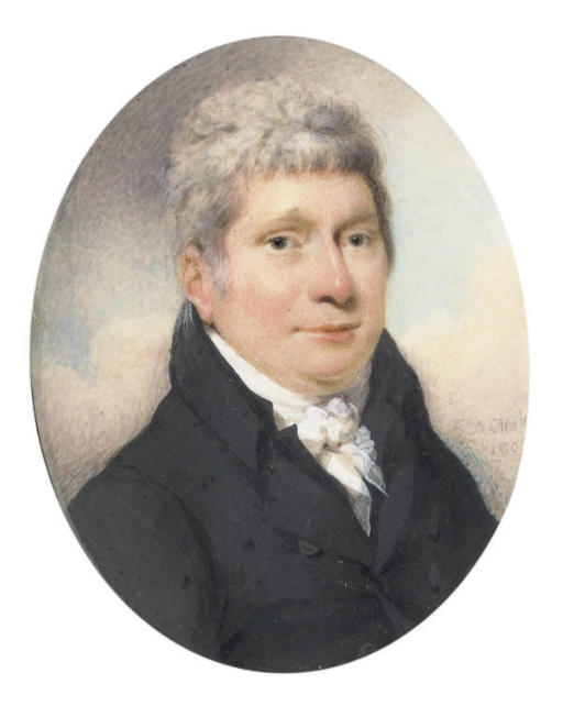 A gentleman called William Hales of Maslow, in black coat and waistcoat, tied white cravat; sky background; together with J.H. Peile, Esq. in black coat seated in red chair