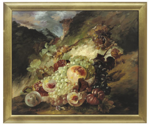 Grapes, vines and peaches in a landscape; and Grapes, peaches, pumpkins and vines on a stone ledge