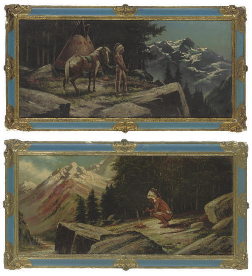 A Native American smoking a pipe by the fire; and A Native American with his horse overlooking snow capped mountains