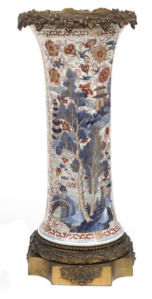 A pair of Chinese-style imari beaker vases