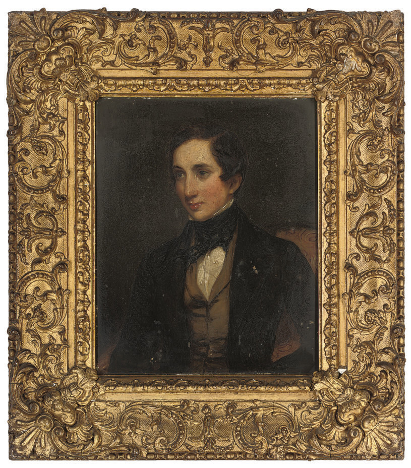 Portrait of Mr Marriot, seated half-length, in a black coat with white shirt, brown waistcoat and black necktie