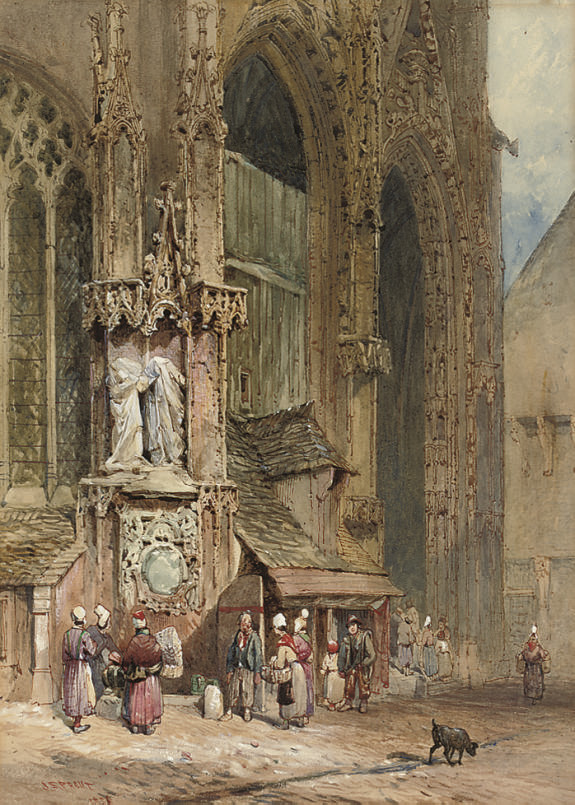 A crowd gathering by a fountain