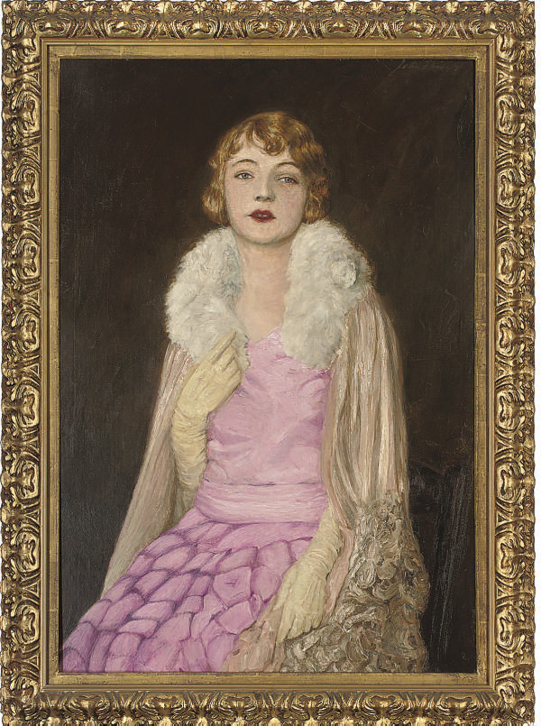 Portrait of a lady, seated three-quarter-length, in a pink dress and satin gown