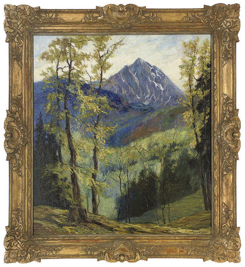 A mountain through the trees