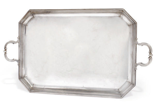 A FRENCH SILVER TWO-HANDLED TRAY