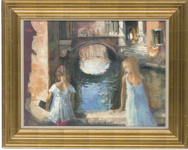 Girls on a bridge, Venice