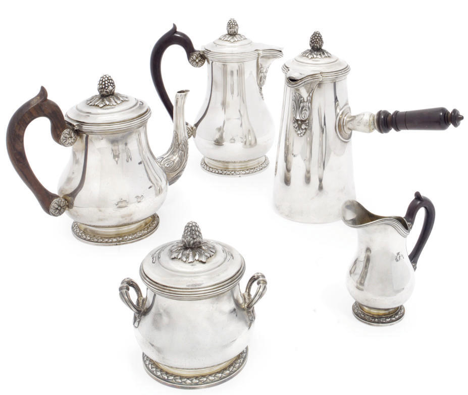 A FRENCH SILVER FIVE-PIECE TEA AND COFFEE SET