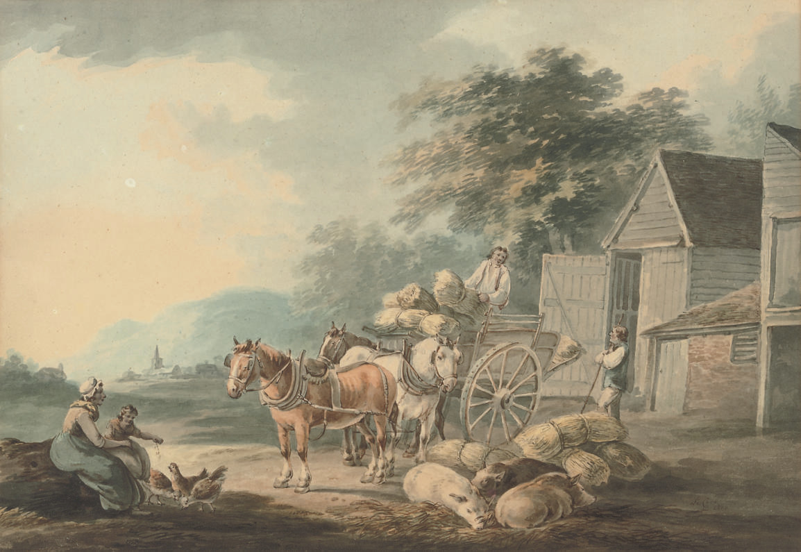 Loading the wagon (illustrated); and Figures conversing on the foreshore