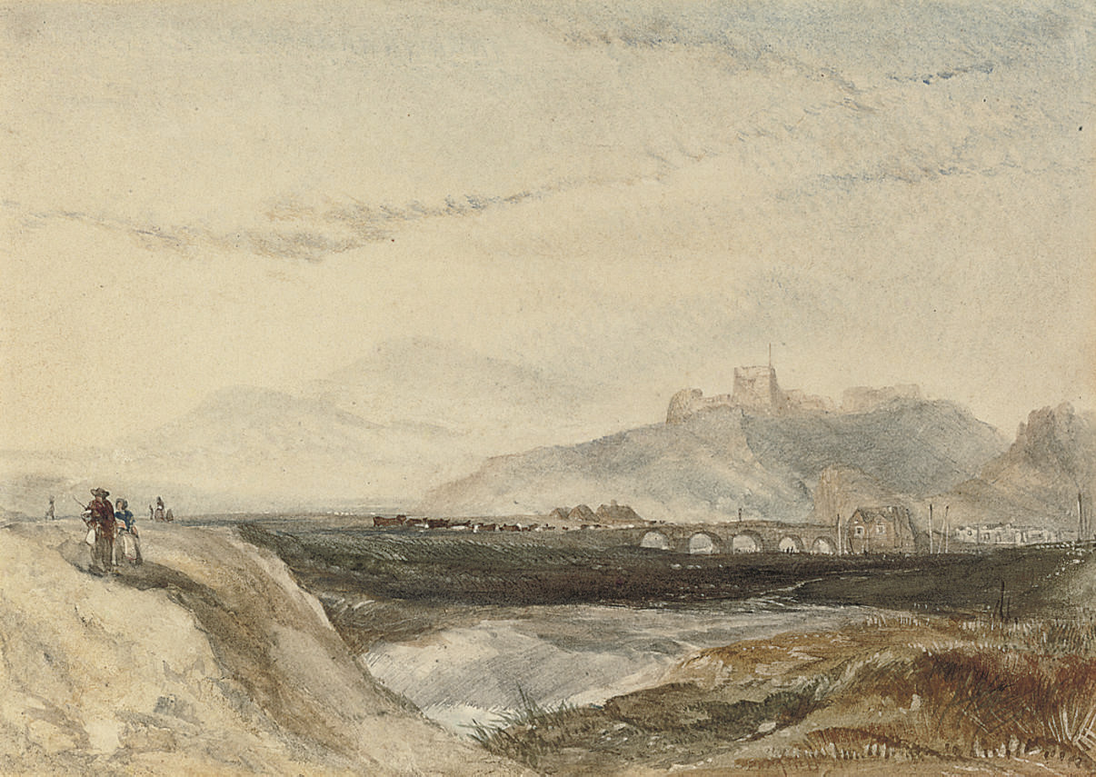 Figures and cattle below a ruined castle