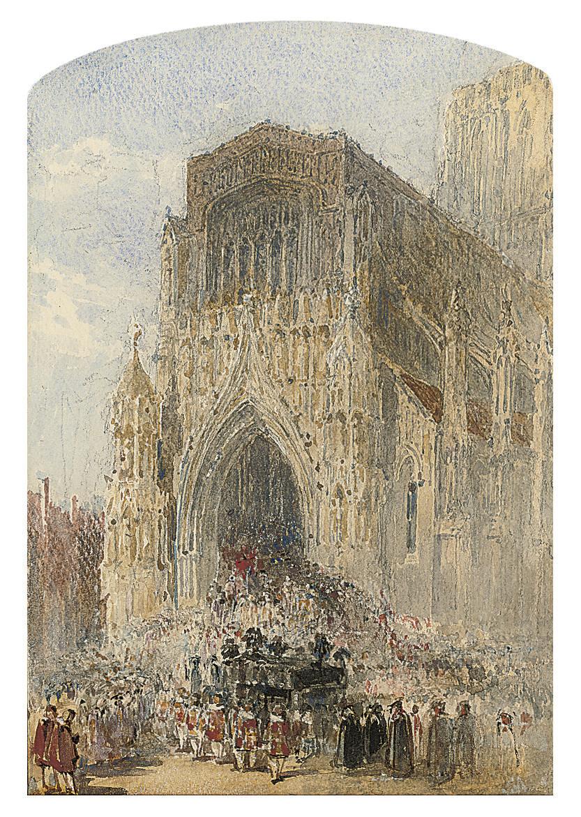 A funeral cortege entering Westminster Abbey, London