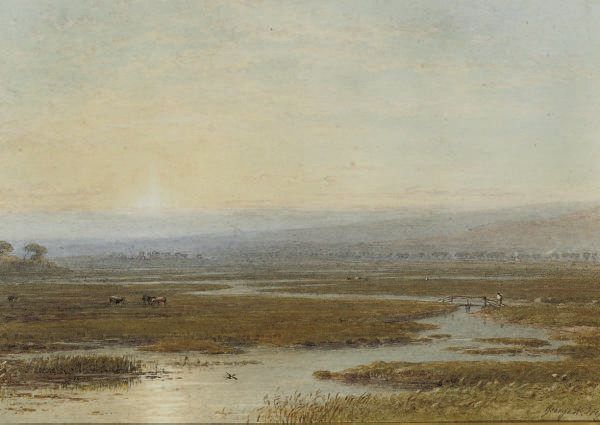 Cattle grazing on the banks of a meandering river at sunset