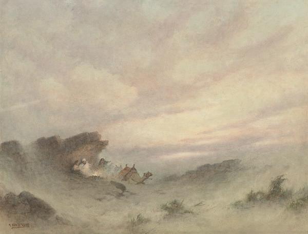 Bedouins sheltering from a desert storm