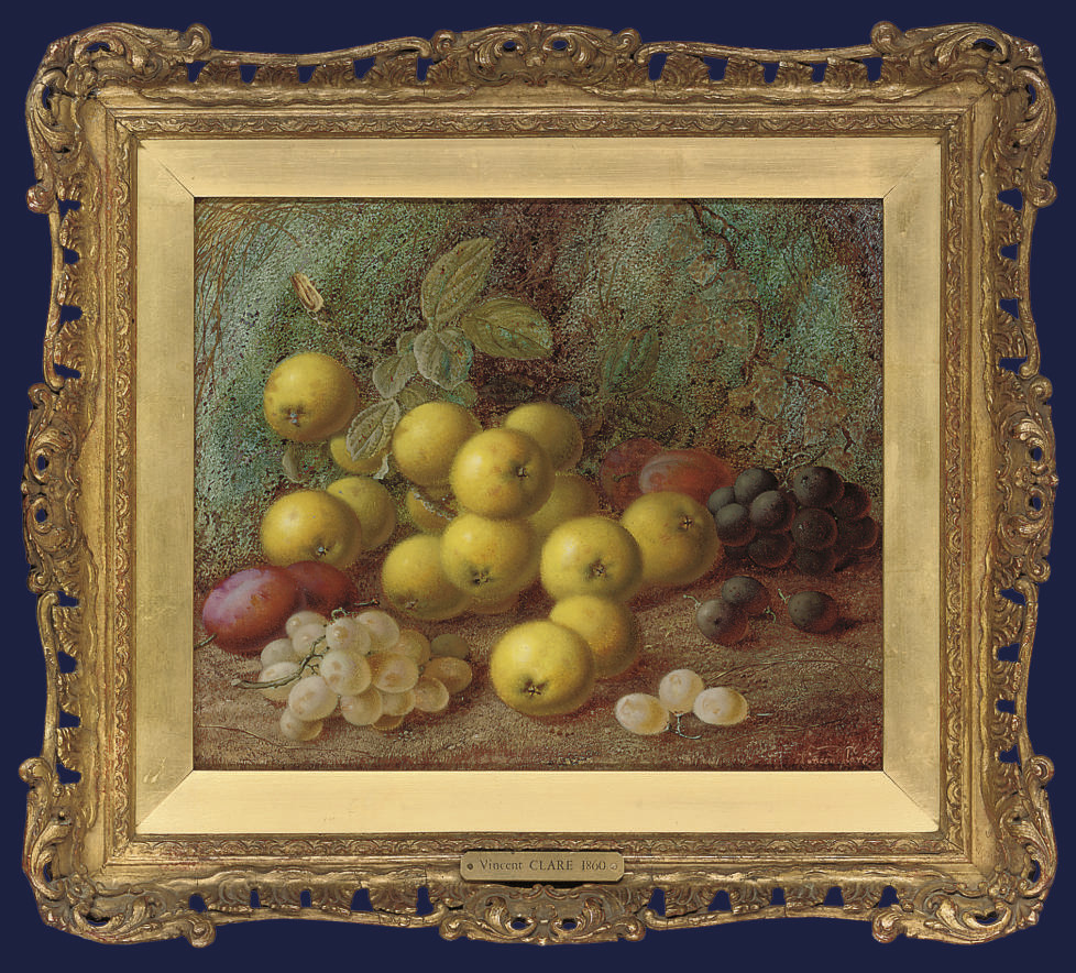 Greengages, plums and grapes on a mossy bank