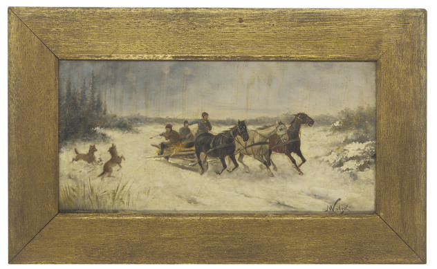 Hunters on a troika; and Racing through the snow