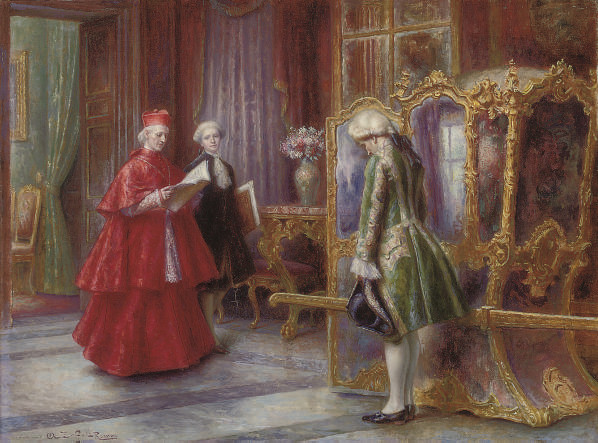A cardinal with his attendants