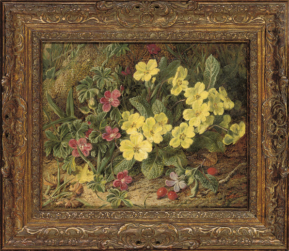 Primroses on a mossy bank