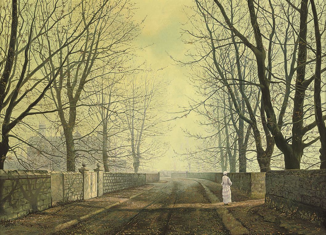 A figure in a country lane
