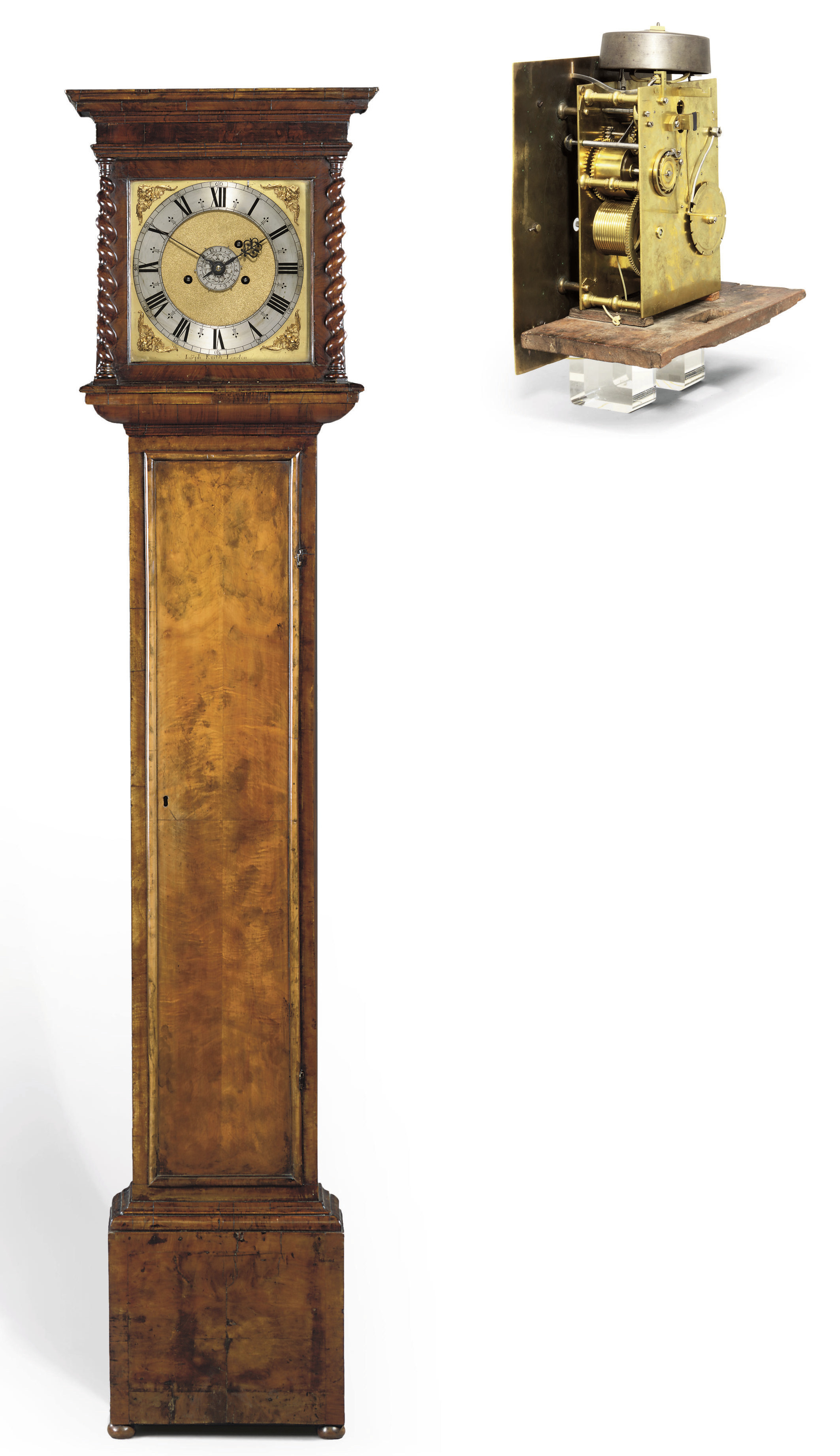 A CHARLES II WALNUT LONGCASE CLOCK WITH ALARM