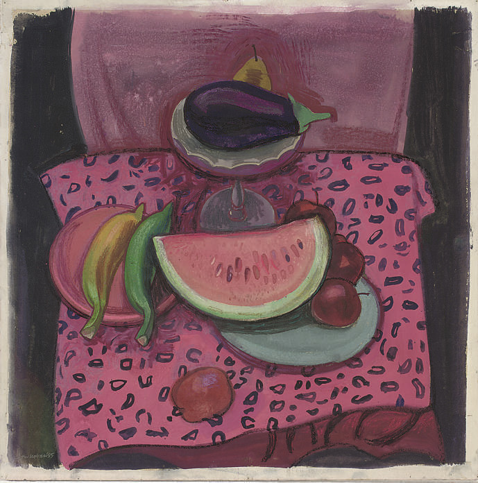 Watermelon, aubergine, apples, bananas and a pear on a table