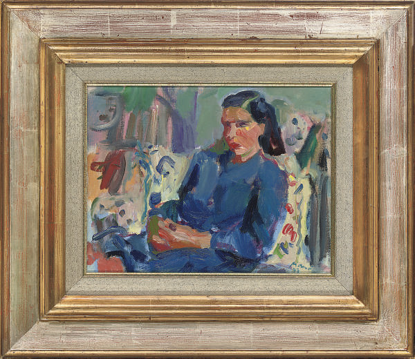 Portrait of Marie José in a blue dress; and Portrait of Marie José in a pink t-shirt