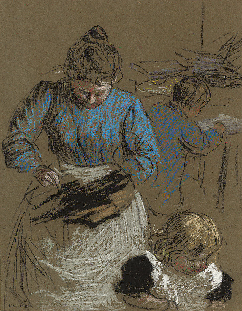 Woman sewing, accompanied by two children
