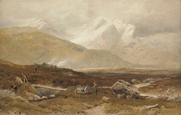 Figures and sheep in a highland valley with mountains beyond