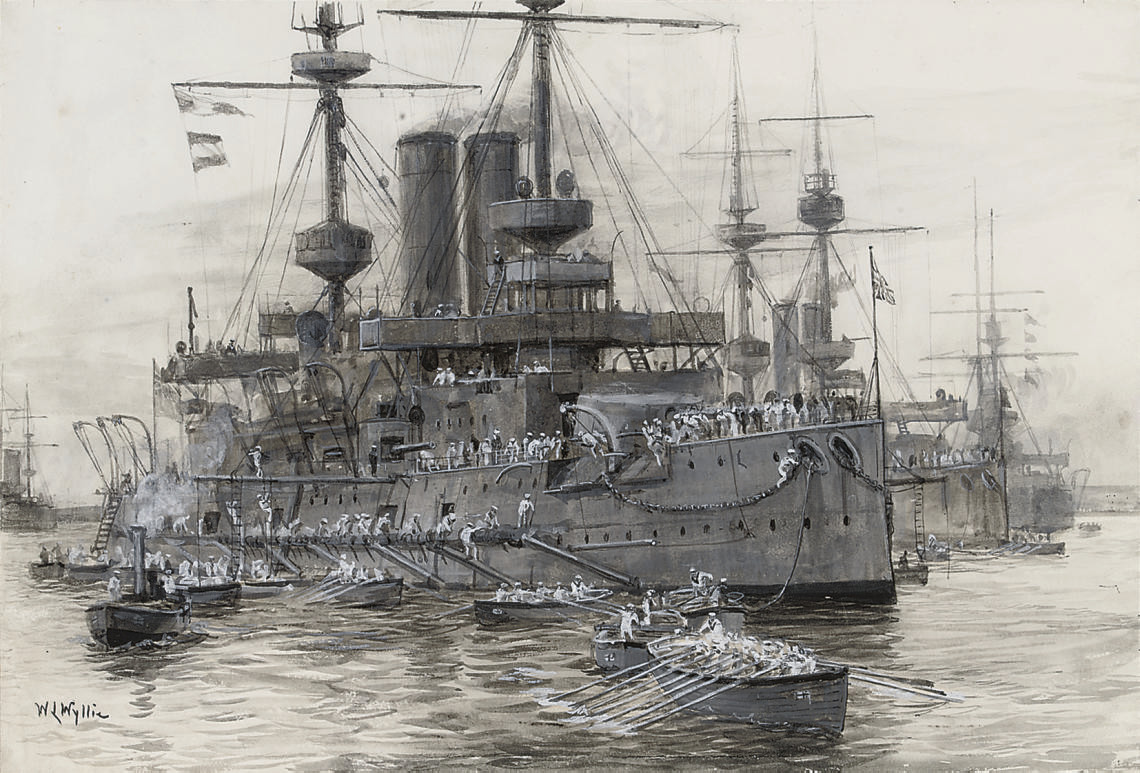 Battleships of the Home Fleet sending out anchors in boats