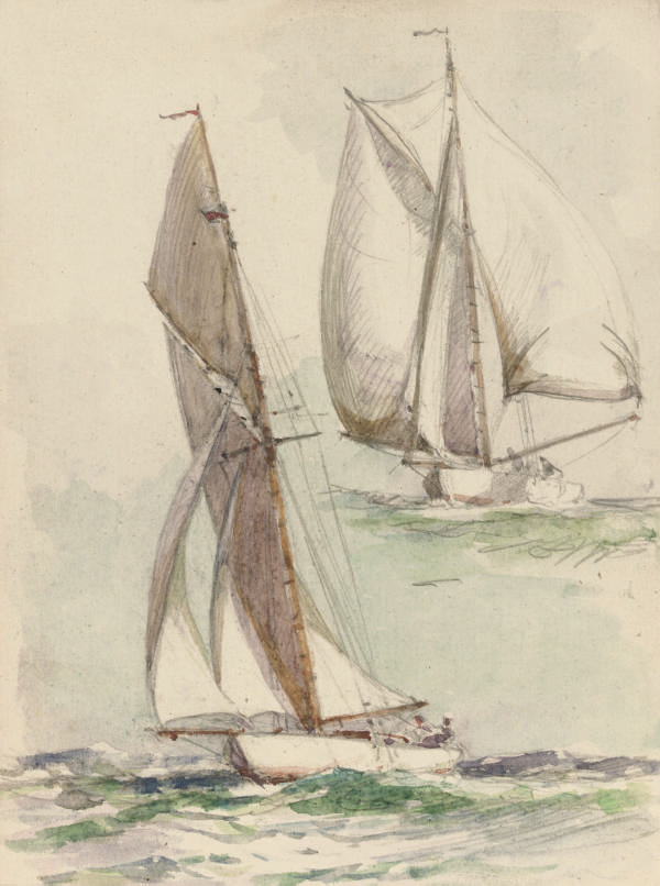 Two sketchbooks of drawings and watercolours of maritime subjects the first including:  Yachts running downwind; A clipper in full sail; Deck studies; A warship flying the Royal Standard; River views; Fantone II; A liner, thought to be the itanic at the quayside; and others; the second including: Studies of tugs; Trading vessels; and Tugs