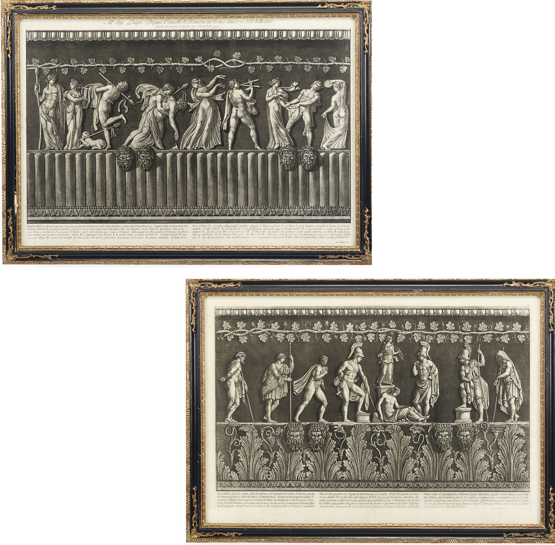 A PAIR OF ETCHINGS OF THE BORGHESE AND MEDICI VASES