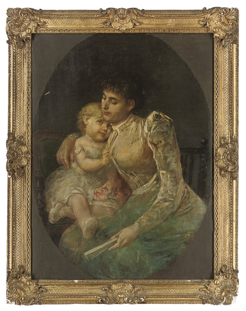 A mother's embrace, a feined oval