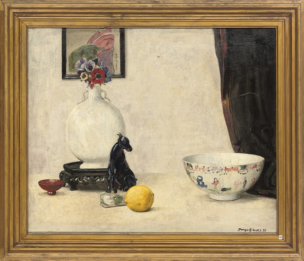 Still life with lemon; and Still life with oriental figure and ornaments