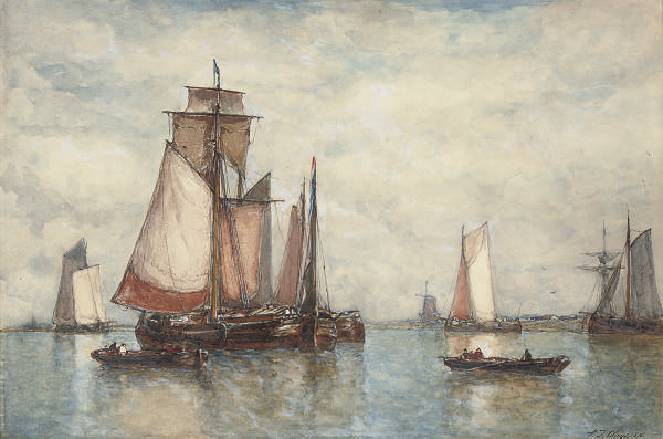 Shipping in an estuary with a windmill beyond