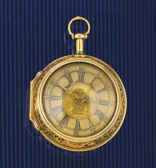 John Ellicott. An 18ct. Gold Quarter Repeating Cylinder watch with Repousse case by Manley