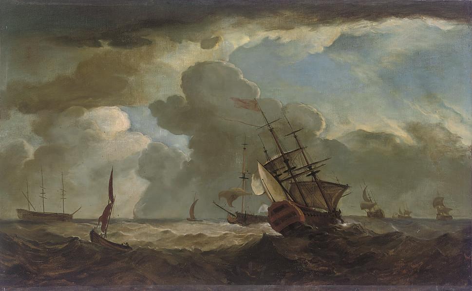 A two-decker heeling in an offshore breeze