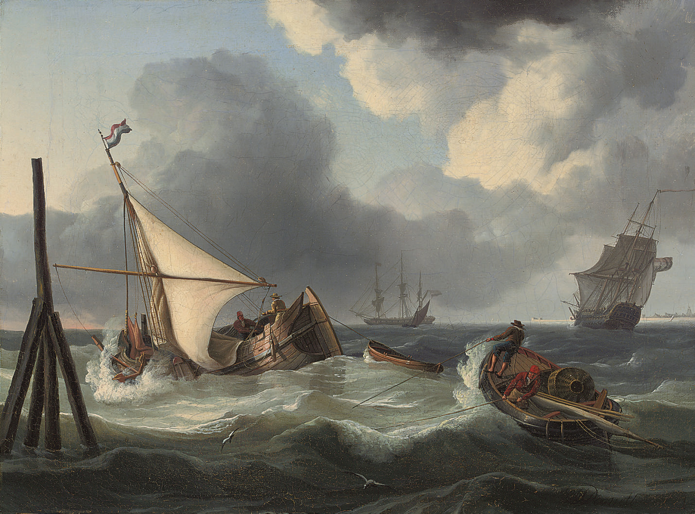 Fishermen wrestling with the swell at high tide, off the mouth of the Scheldt