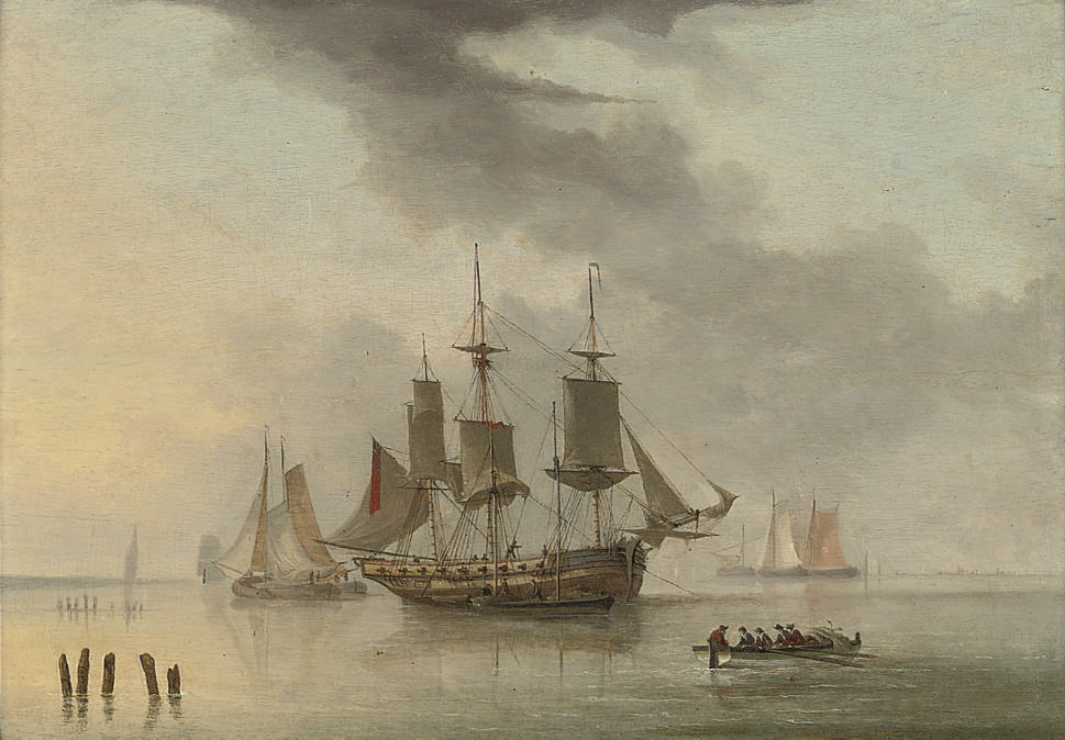 An armed merchantman at anchor in a calm