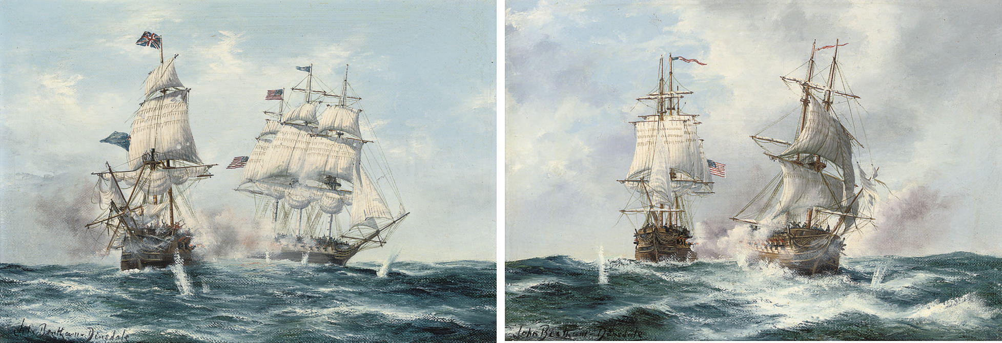 The action between Java and Constitution, 29th December, 1812; and The engagement between H.M.S. Frolic and U.S.S. Wasp, 18th October, 1812 (both illustrated)