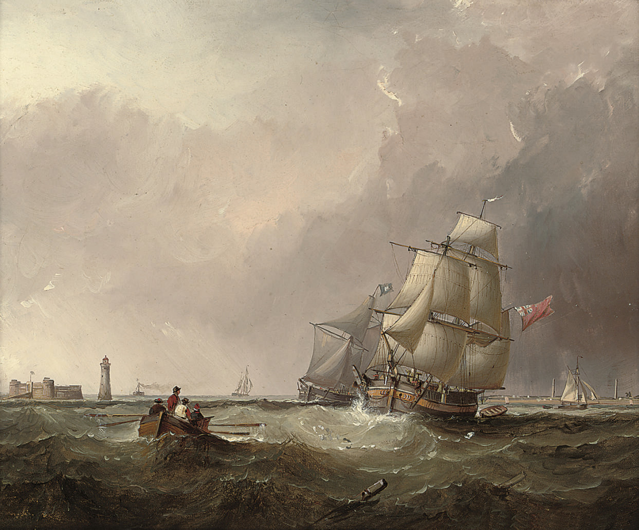 Commercial traders running into the Mersey past the Perch Rock fort and lighthouse