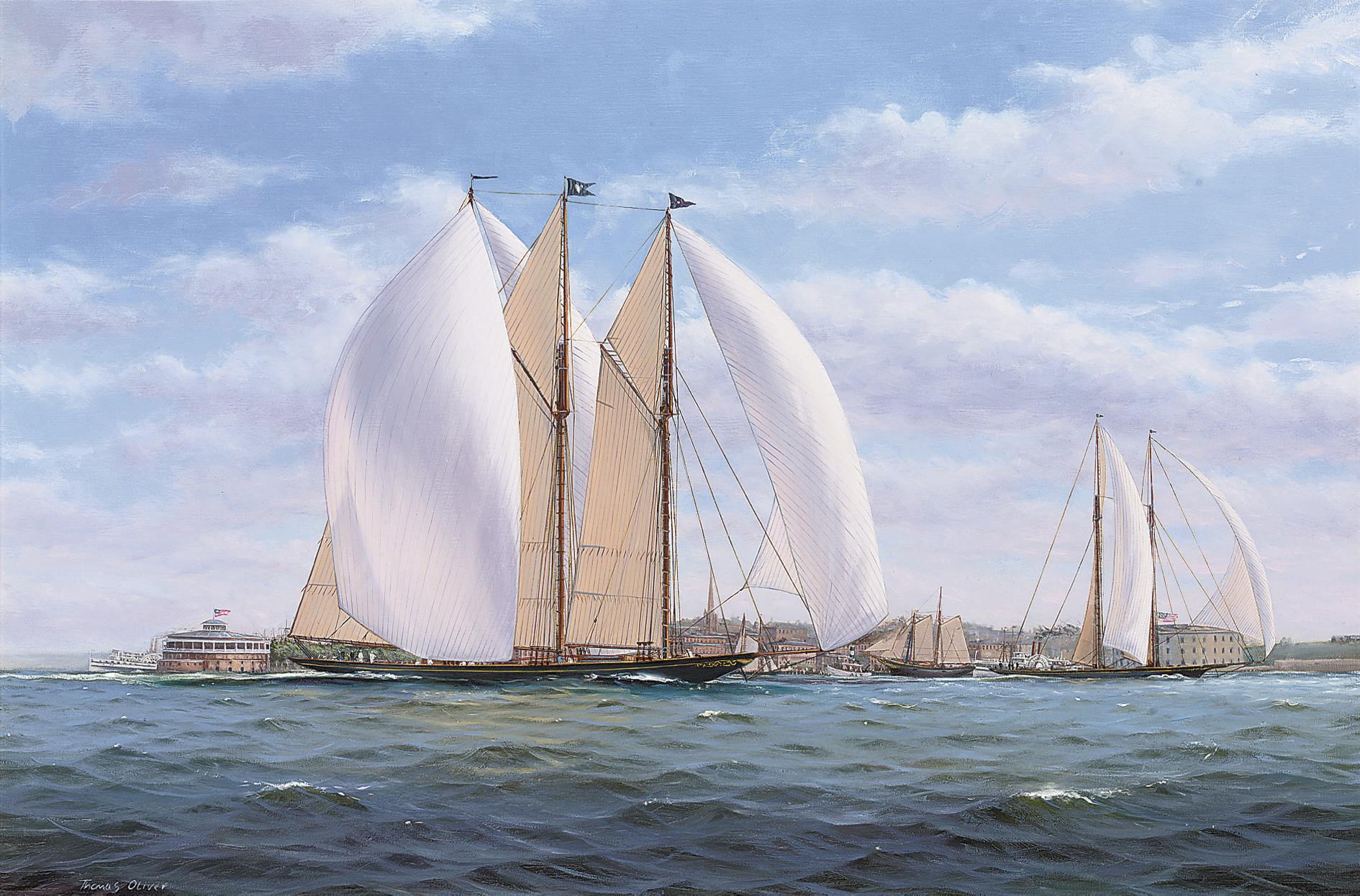 The New York Yacht Club's three-masted racing schooner Atlantic racing off Castle Gardens, New York Harbour, 1905