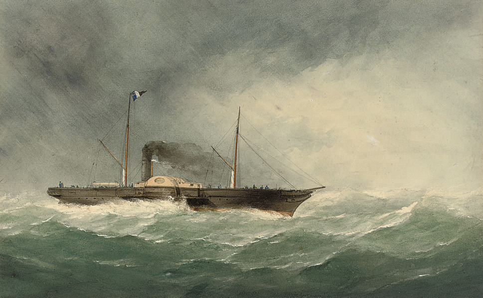 A cross-Channel paddle steamer outward-bound for France