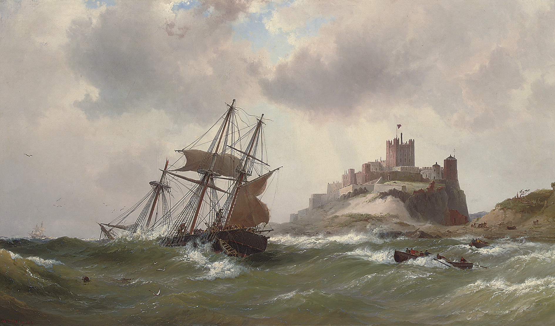 In dangerous waters off Bamburgh Castle, Northumberland