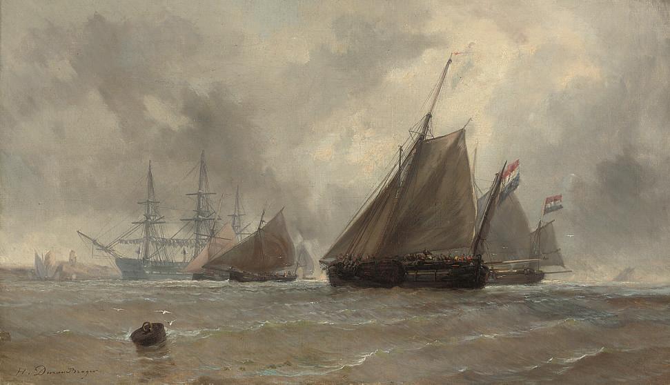Dutch barges running inshore