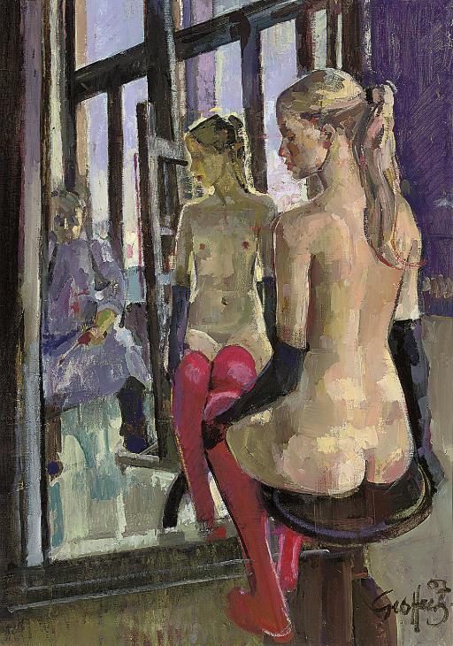 Nude with crimson stockings